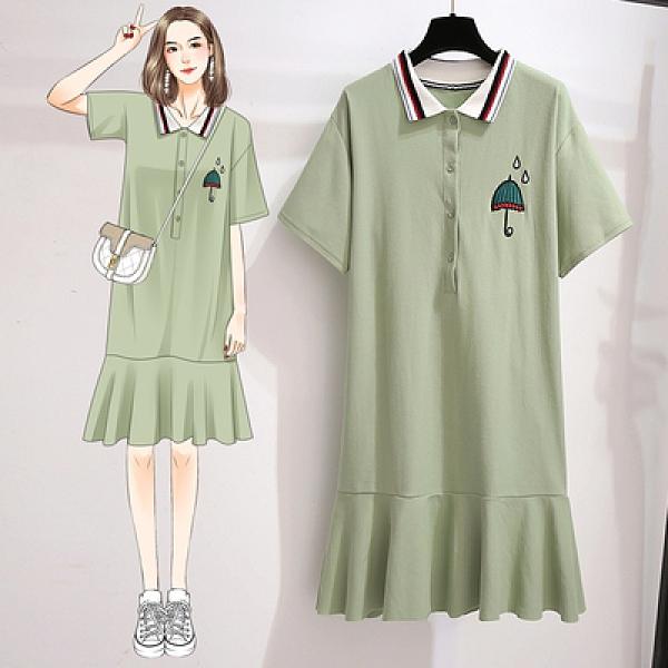 中長版洋裝 短袖連身裙洋氣減齡百搭短袖繡花純棉polo連衣裙MA150.依品國際