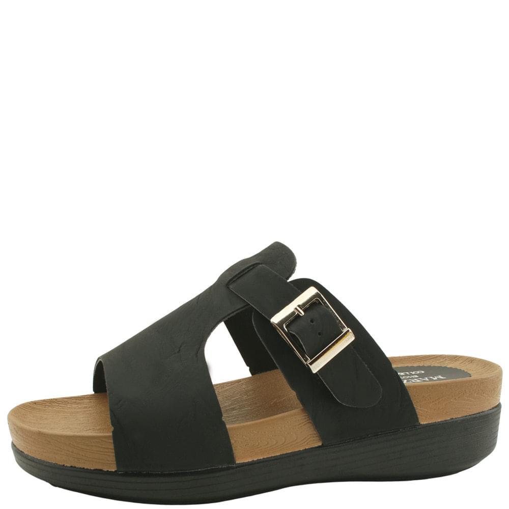 韓國空運 - Buckle Strap Heel Slippers 5cm Black 涼鞋