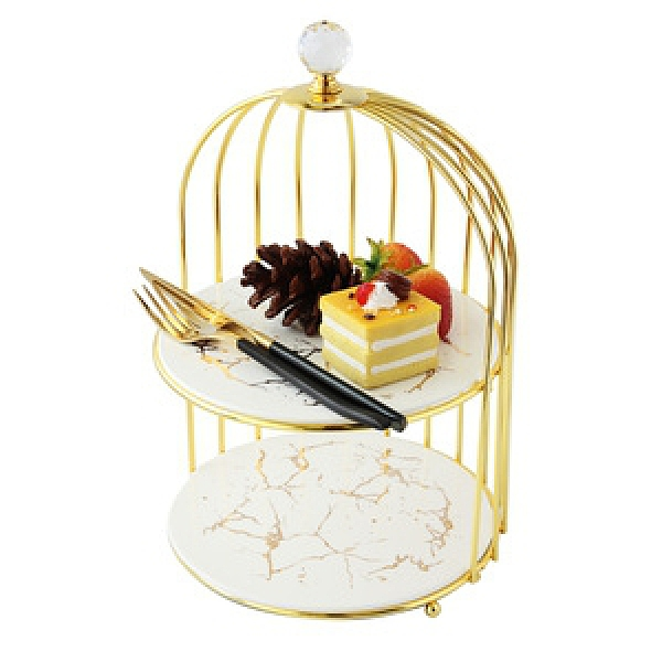 霧金奢華石紋雙層蛋糕架組 白