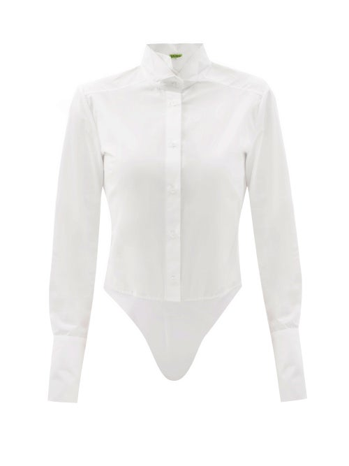 Gauge81 - Pilos Cotton-poplin And Jersey Bodysuit - Womens - White