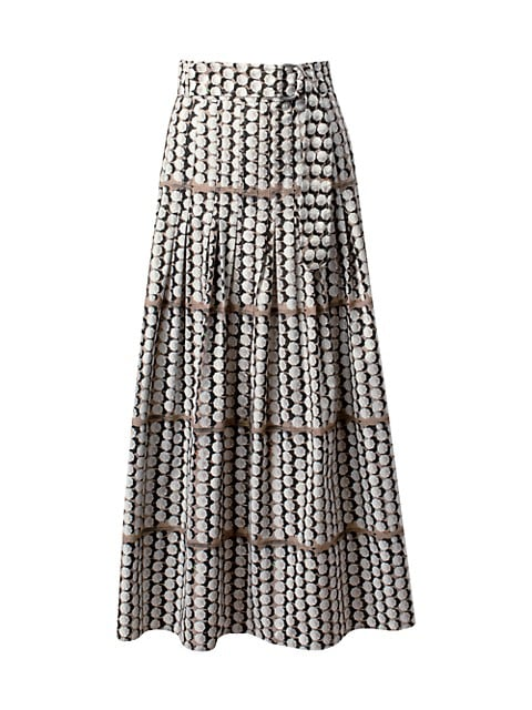 Parasol-Print Pleated A-Line Midi Skirt