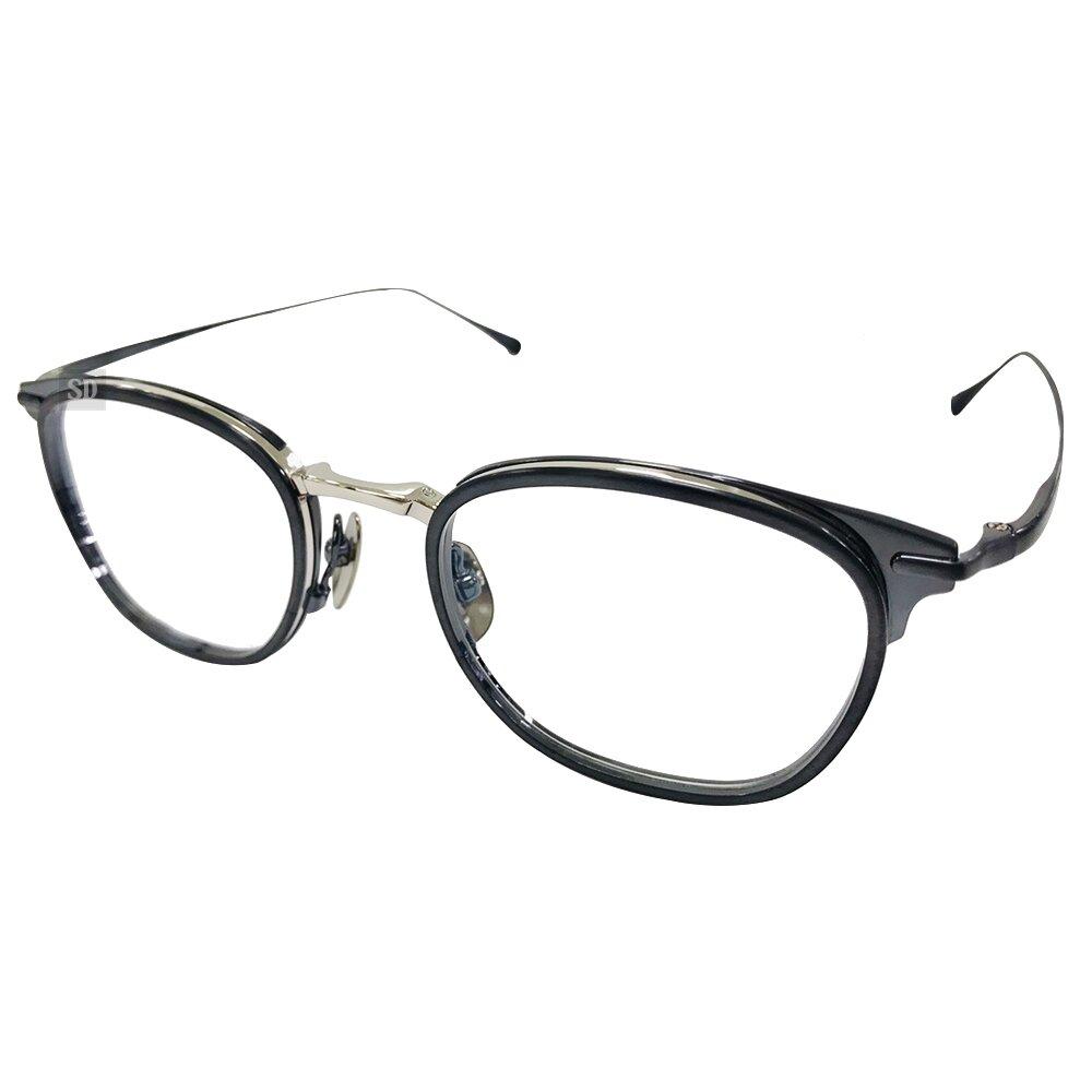 【Japonism】日本製 光學眼鏡鏡框 日本純鈦 JS-143 C03 橢圓鏡框眼鏡 48mm 銀/霧藍