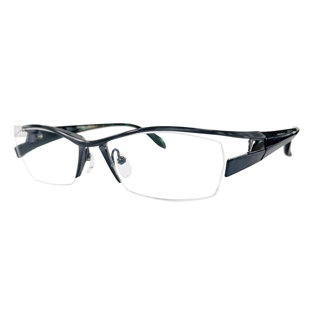 【Japonism】日本製 光學眼鏡鏡框 日本純鈦 JN-534 C12 半框 橢圓方框眼鏡 56mm 霧藍/黑