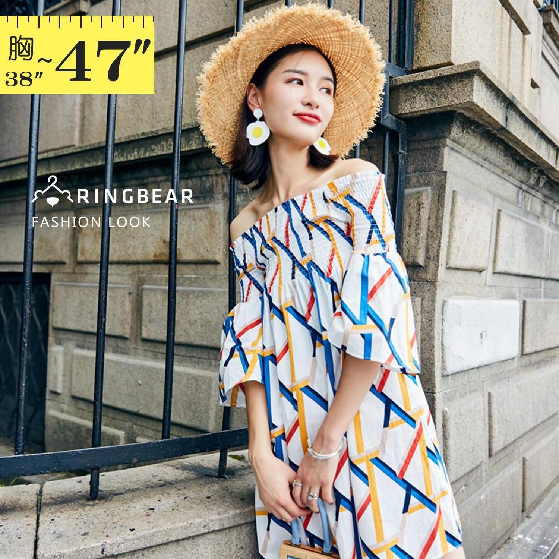 波西米亞--時尚甜美夏季渡假風格露肩喇叭五分袖一字領連身裙(白L-3L)-D514眼圈熊中大尺碼