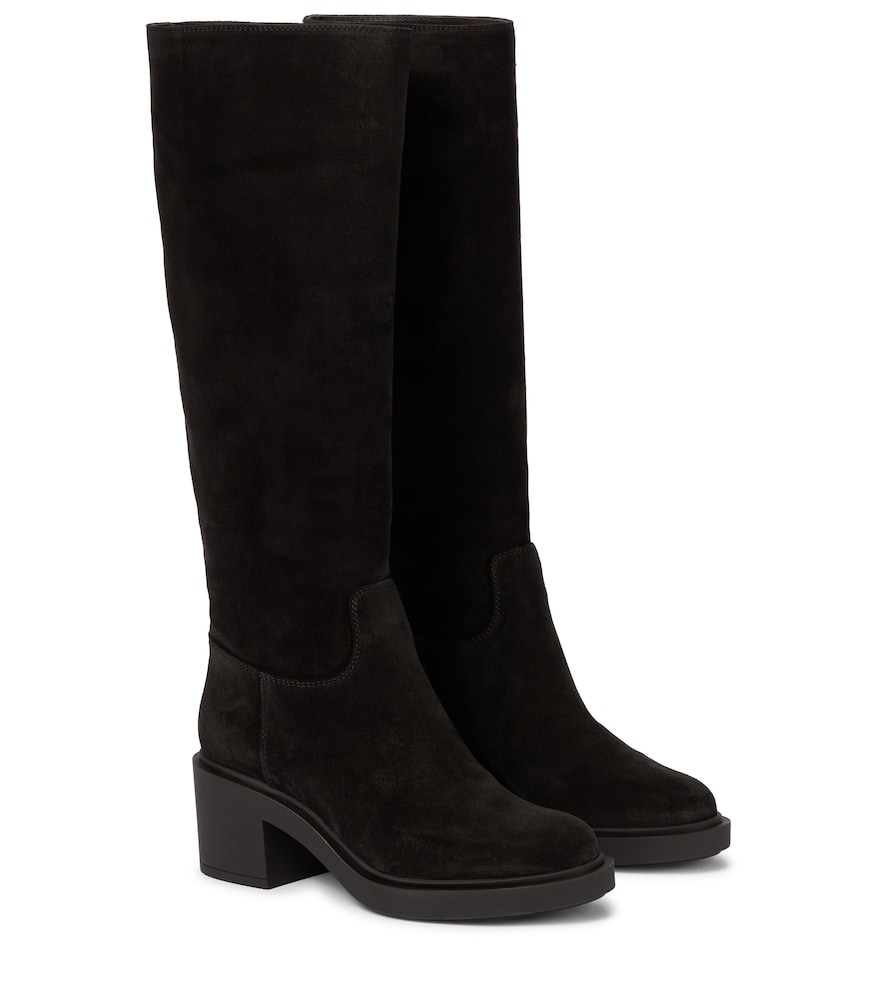 Knee-high suede boots