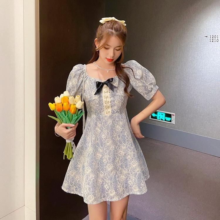 VIVILIAN日系唯美蕾絲法式復古泡袖柔美蝴蝶結傘狀小洋裝