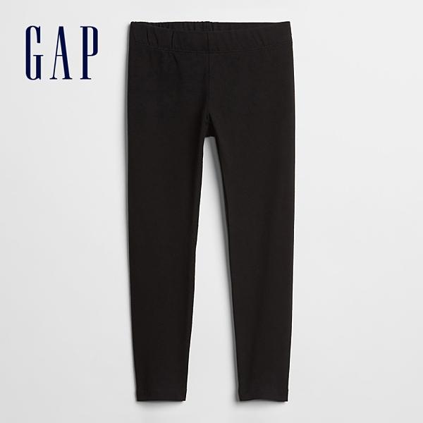 Gap女童 簡約風格素色鬆緊內搭褲 802491-黑色