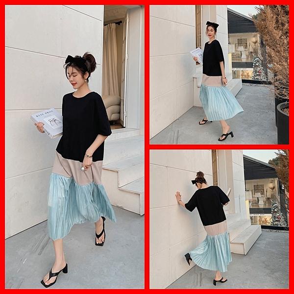 洋裝 韓系春夏寬鬆休閒拼接百摺短袖連身長裙 共1色 L-3XL 依米迦