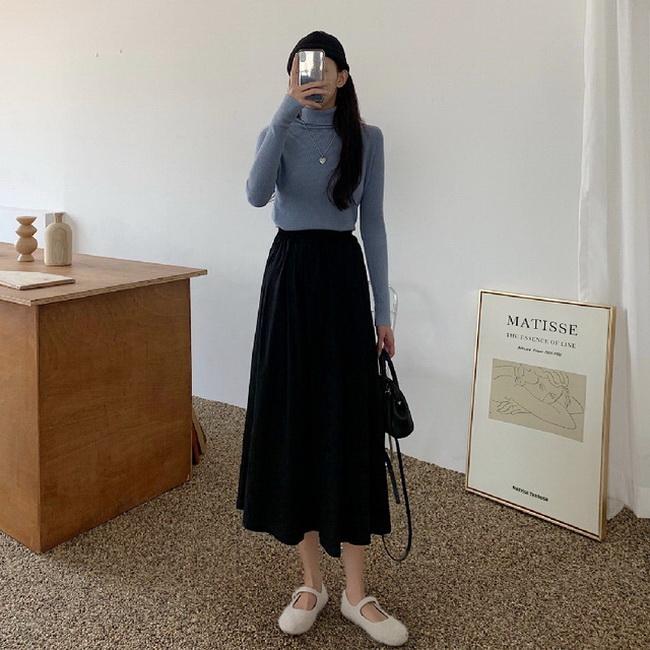 FOFU-裙子女中長版a字裙黑色半身裙長裙春夏【08SG06841】
