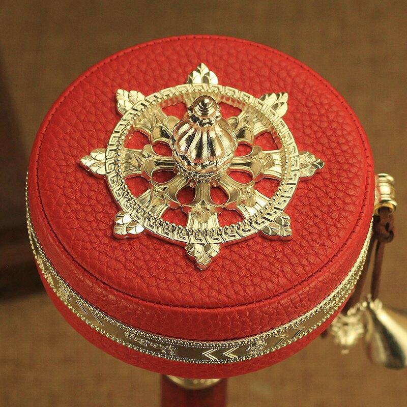 西藏黃銅手搖轉經輪六字大明咒手動轉經筒家用藏式佛教法器紅皮款