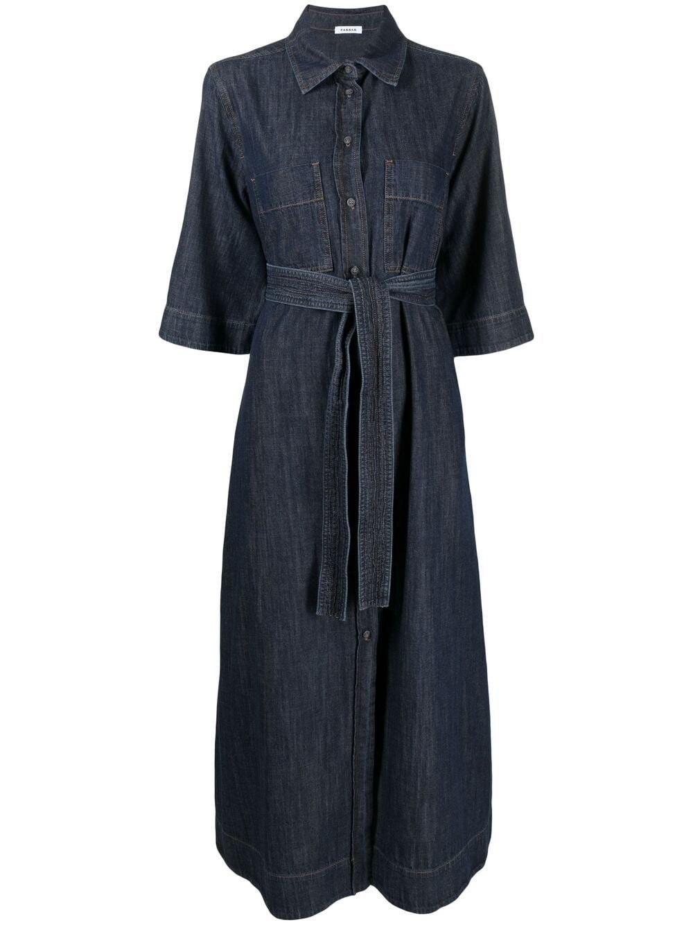 Long Denim Dress with Belt