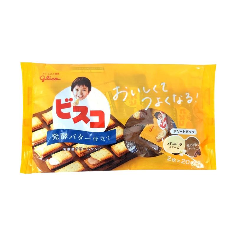 【豆嫂】日本零食 GLICO奶油夾心餅乾家庭號(香草&咖啡歐蕾)