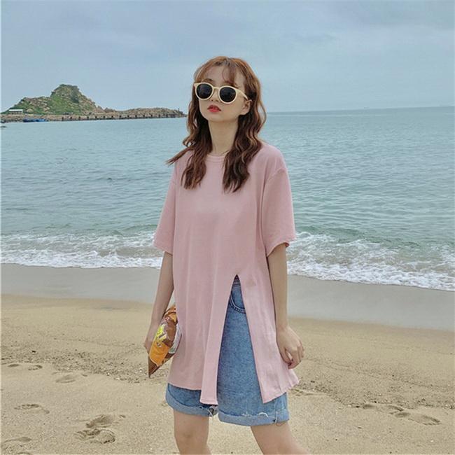 FOFU-棉夏季中長版寬鬆開叉T恤短袖設計款設計感【08SG06944】