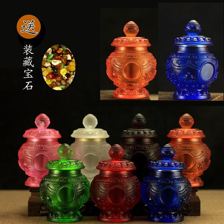 藏傳佛教供品 水琉璃寶瓶 八吉祥裝藏寶瓶   大號 摩尼寶瓶