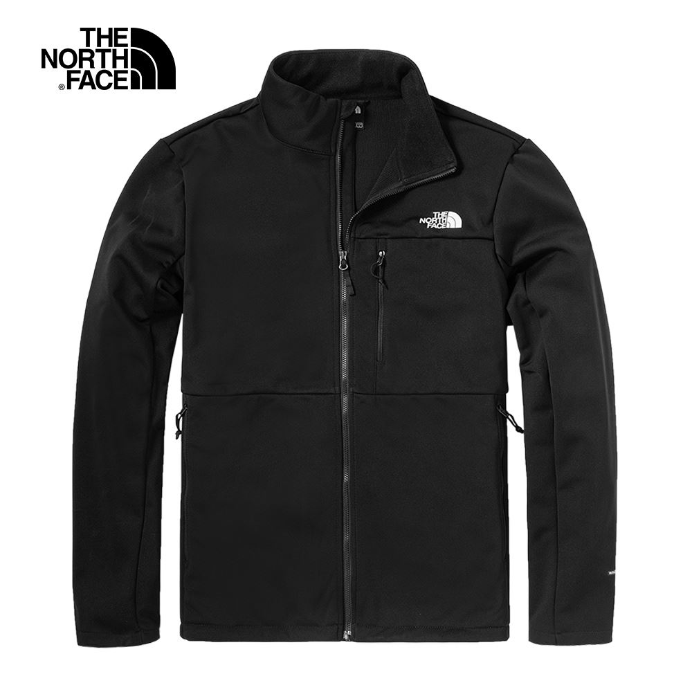 The North Face北面男款黑色防風立領輕量風衣|4UAWJK3