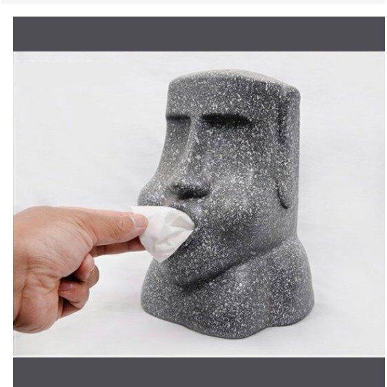 【現貨快出】創意造型 摩艾石像 面紙盒 造型面紙盒 仿真石紋 防滑底墊