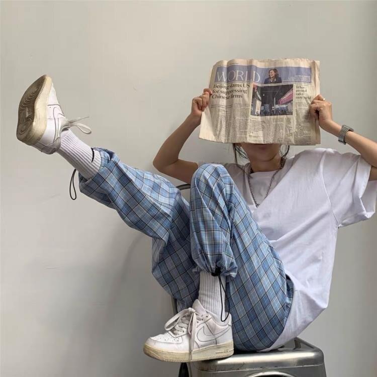 格子束腳褲夏季新款格紋高腰休閒褲抽繩運動工裝褲女 【快速出貨】