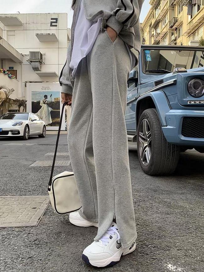 FOFU-魚鱗開叉闊腿褲女寬鬆直筒垂感薄款運動褲夏季【08SG06606】