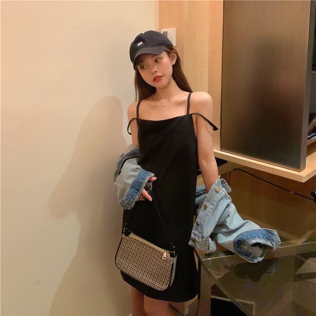 FOFU-小黑裙內搭吊帶裙赫本風顯瘦黑色連身裙女【08SG06904】