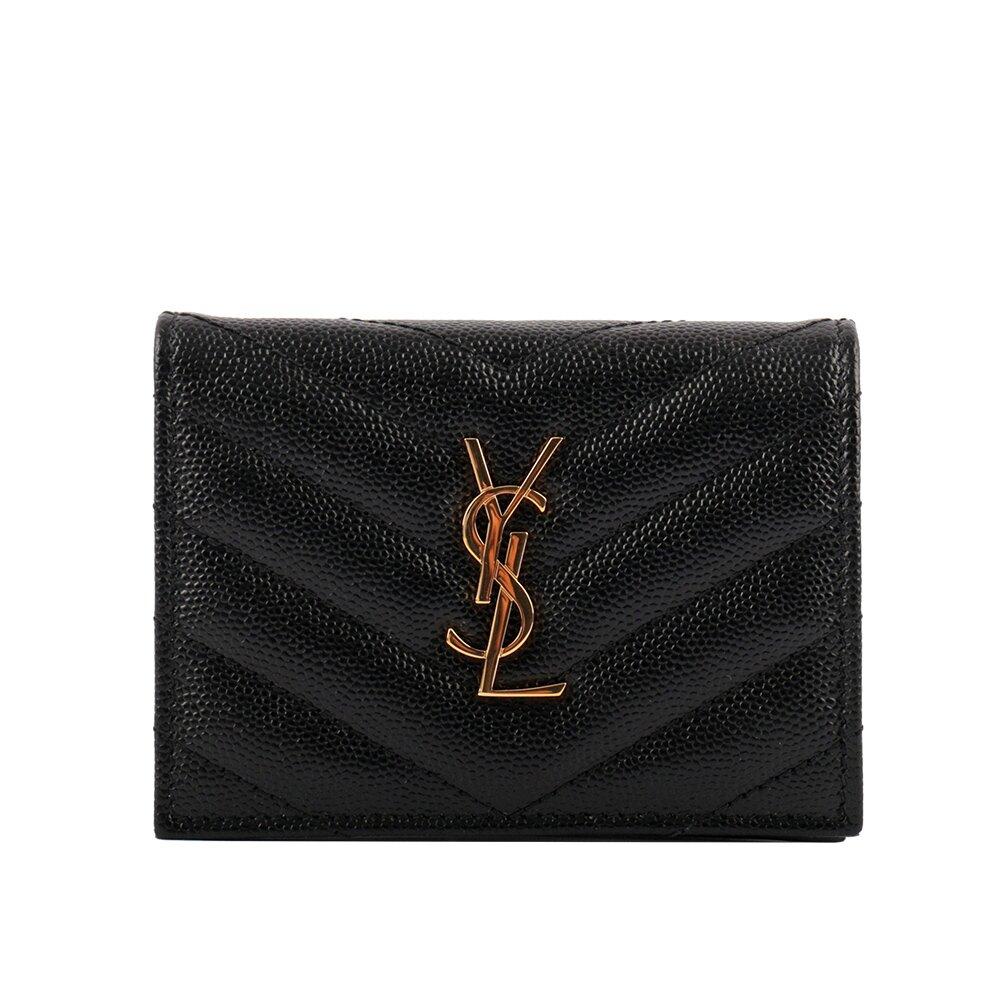 YSL 山形紋荔枝皮金字Logo壓釦卡片夾(黑色) 530841 BOWA1 1000