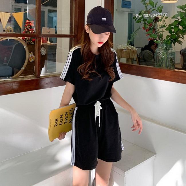 FOFU-棉運動套裝女時尚寬鬆短袖短褲跑步休閒兩件套【08SG06846】