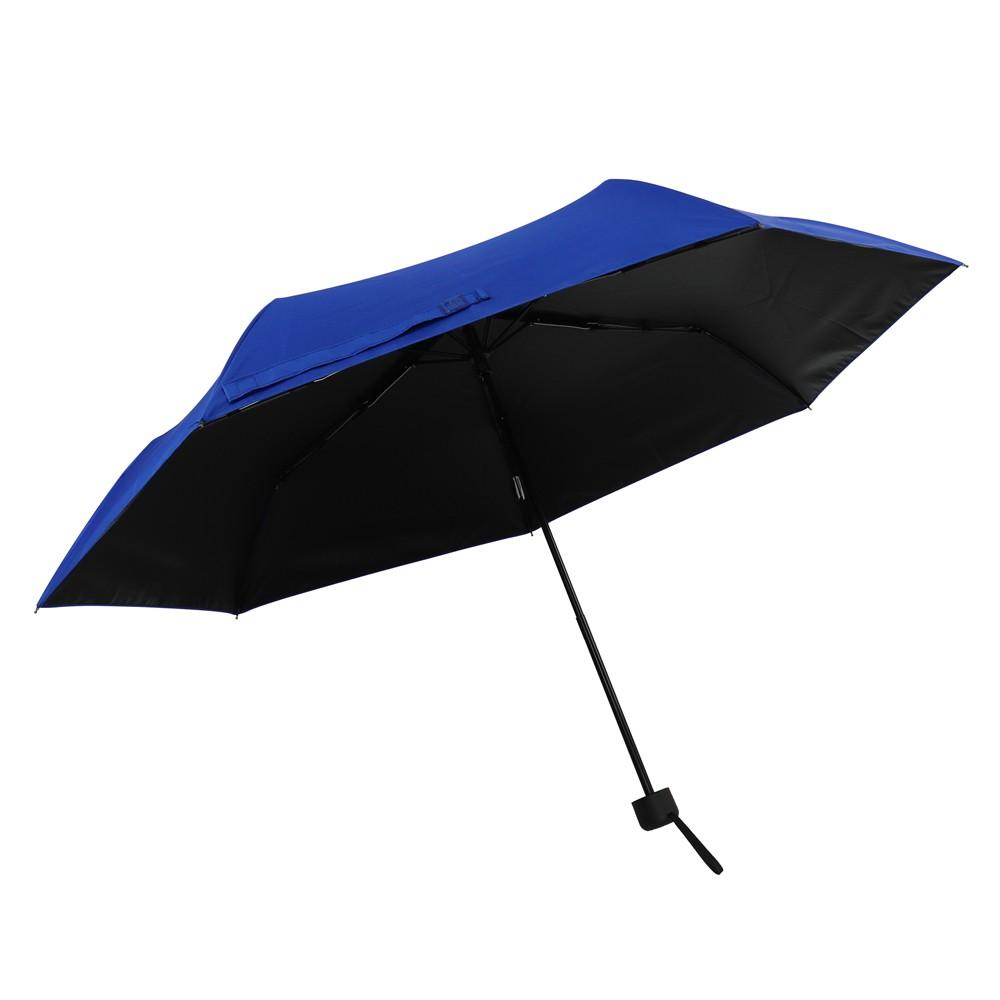 【SE Lite】抗UV三折黑膠防曬晴雨傘_時尚藍