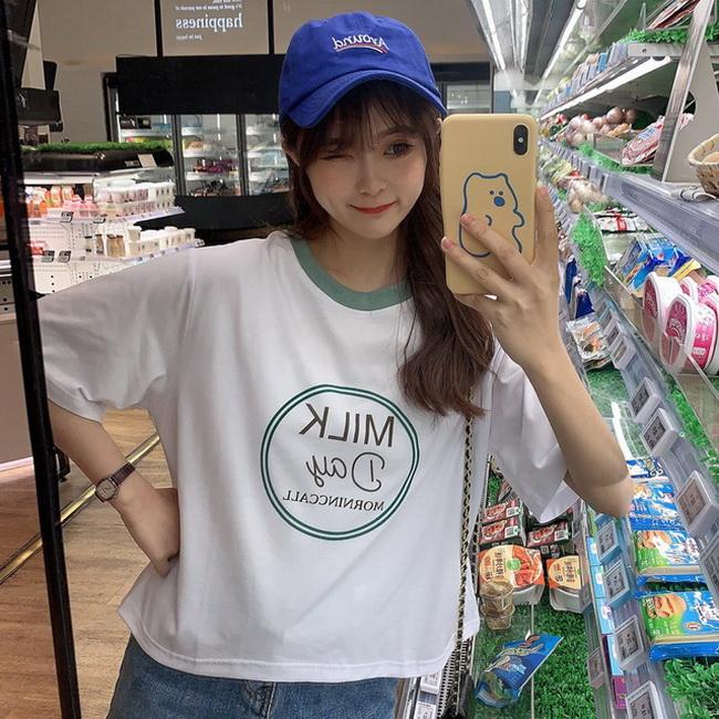 FOFU-彈性棉短袖t恤女印花字母短版【08SG06724】
