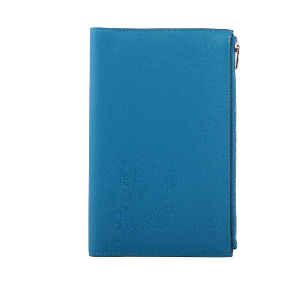 HERMES 牛頭人身圖案拉鏈多功能護照夾(藍色) HE27000003