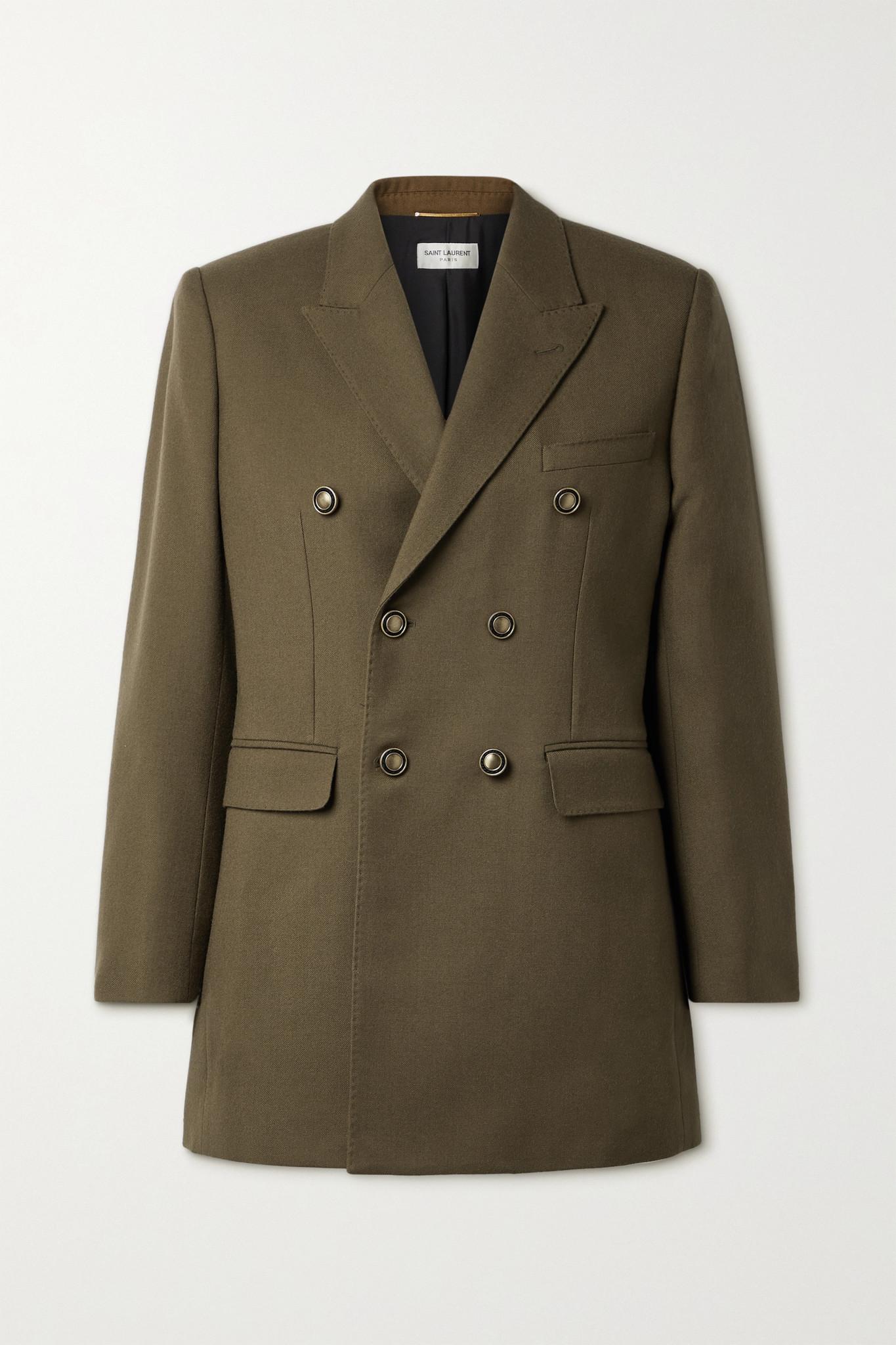SAINT LAURENT - Double-breasted Wool Blazer - Green - FR34