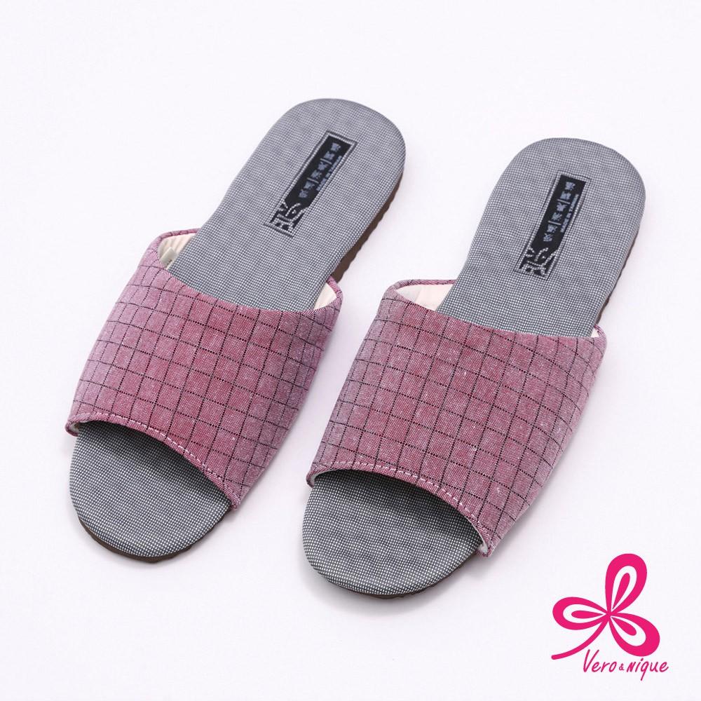 維諾妮卡 86027方格竹炭機能乳膠室內拖鞋-紅S