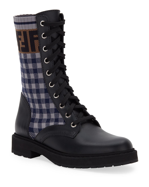 FF Gingham Sock Hiker Combat Boots