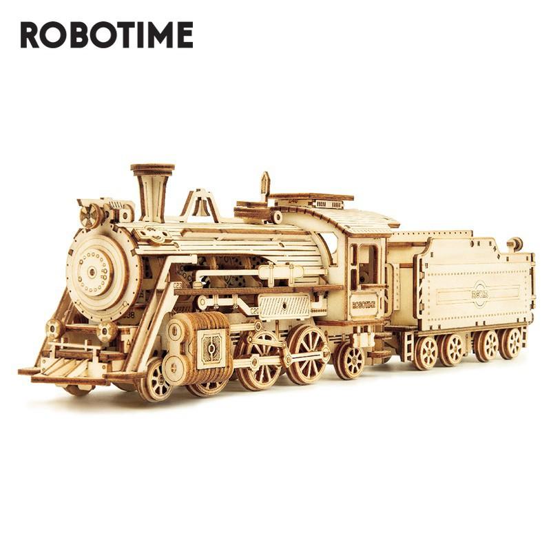Robotime 若態 木質拼圖 蒸汽火車模型玩具 MC501