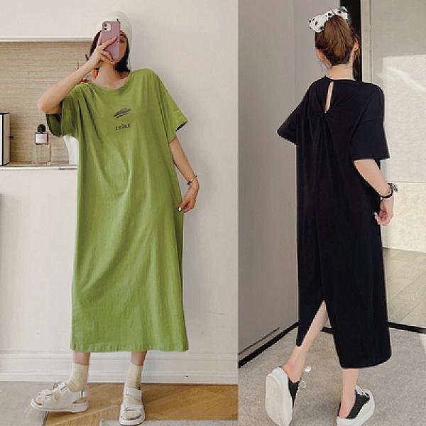胖妹大碼洋裝連身裙~9420長款大碼背后開叉露背設計短袖連身裙DC109莎菲娜