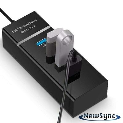 NewSync USB3.1/Type-C轉4埠3.0USB Hub極速擴充轉接器 黑