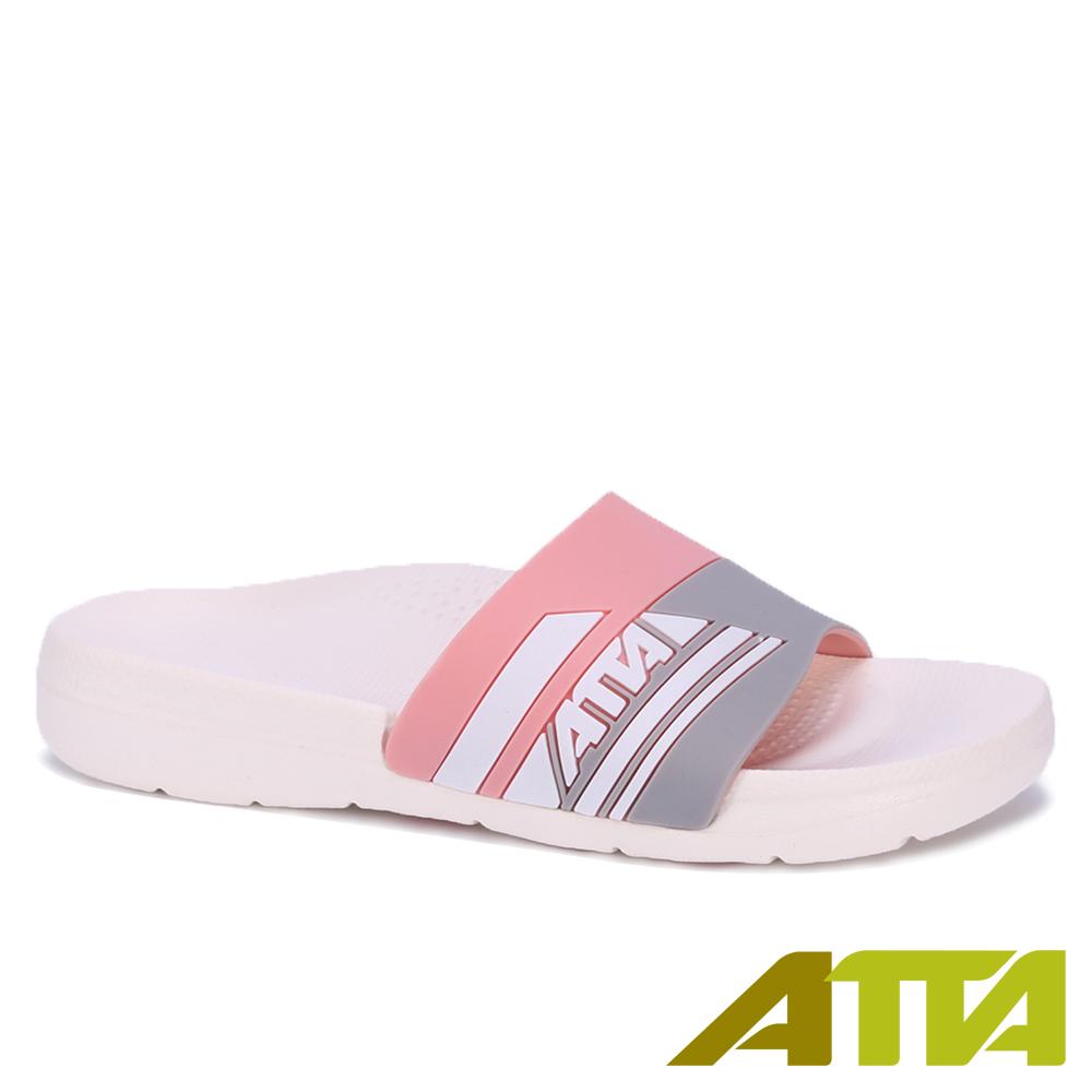91014 ATTA運動風圖紋室外拖鞋-粉26