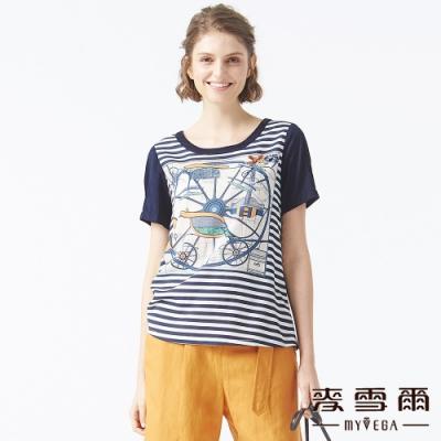 麥雪爾 絲光棉設計稿印花上衣-深藍