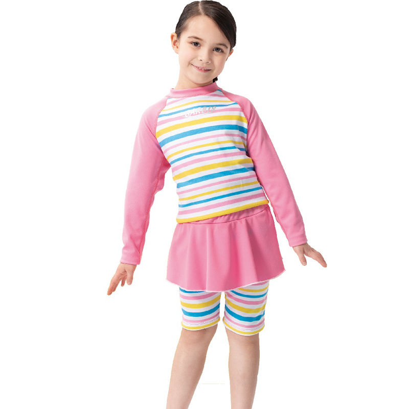 【SARBIS】女童兩截式長袖防曬泳裝 泡湯專用附泳帽B822005