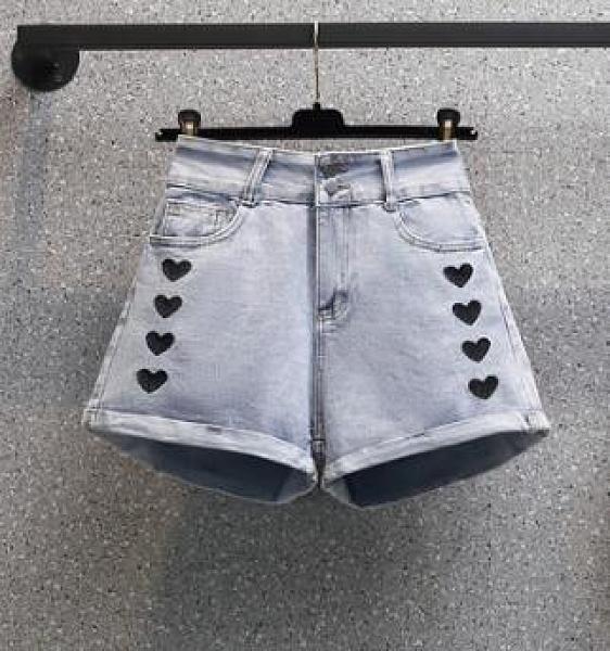 牛仔短褲 大碼L-4XL高腰顯瘦闊腿褲牛仔褲女 3397 R26韓衣裳