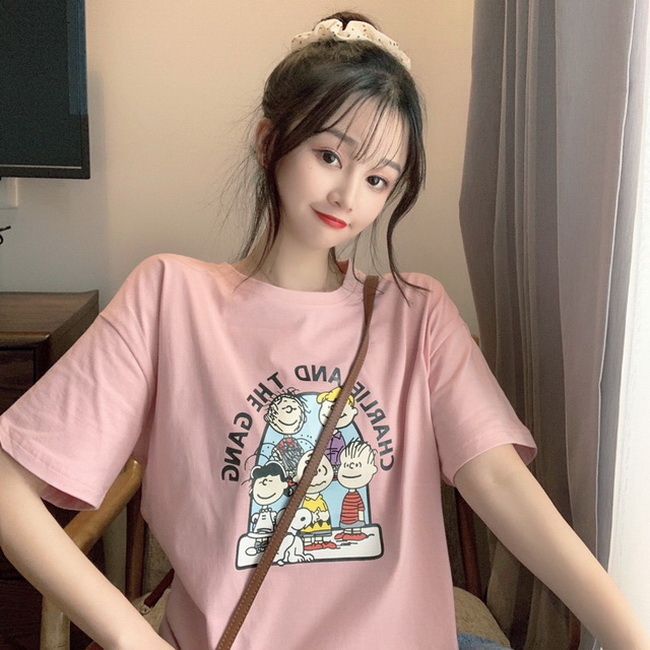FOFU-彈性棉短袖t恤女字母卡通印花半袖上衣【08SG06719】