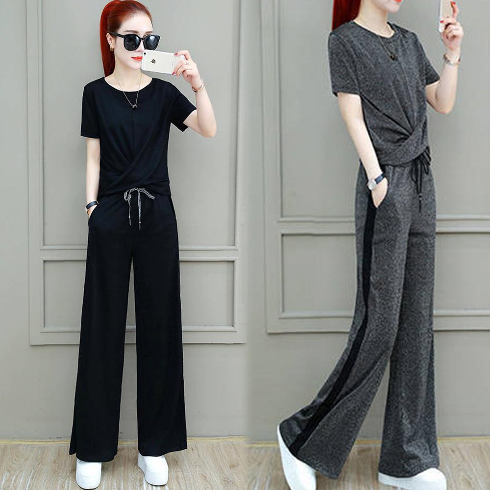 【韓國K.W.】(預購)氣質雅緻扭結短袖套裝