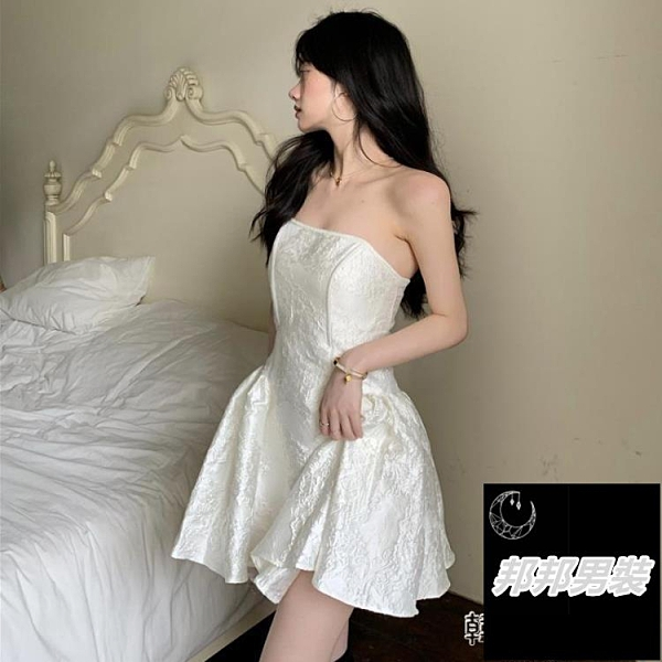 法式洋裝女夏季浮雕宮廷風設計感抹胸裙子性感收腰短裙碎花裙品牌【邦邦男裝】