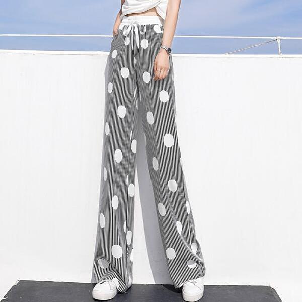 M-4XL胖妹妹大碼寬褲~直筒褲~闊腿褲女垂感高腰冰絲薄款拖地寬腿褲花褲子A201.2F079E衣時尚