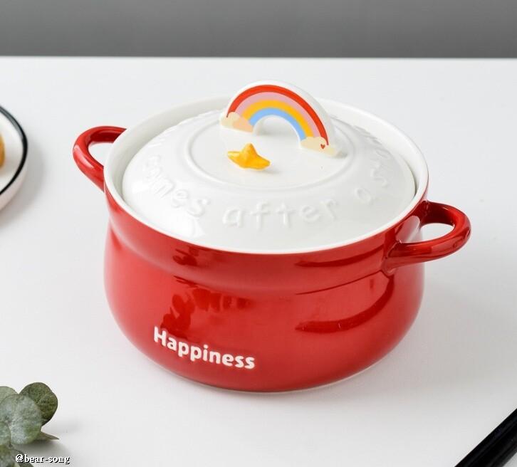 彩虹泡麵陶瓷碗 蓋子可放手機 a2928