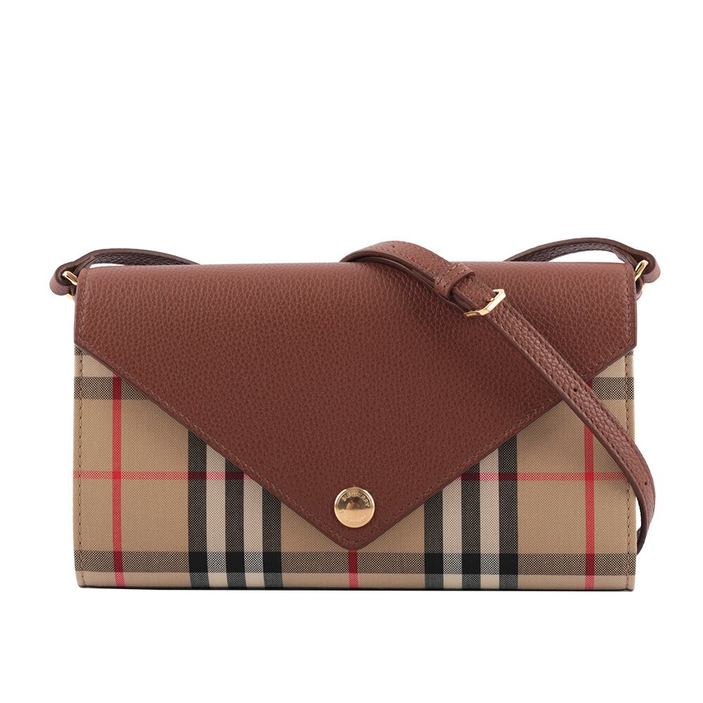 BURBERRY 可拆式背帶 Vintage 格紋皮革信封式皮夾(棕褐色) 8025162 A1363