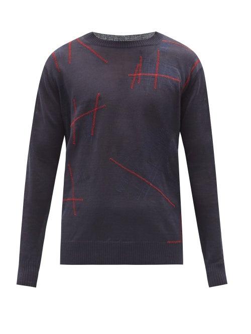 Junya Watanabe - Embroidered Linen Sweater - Mens - Navy