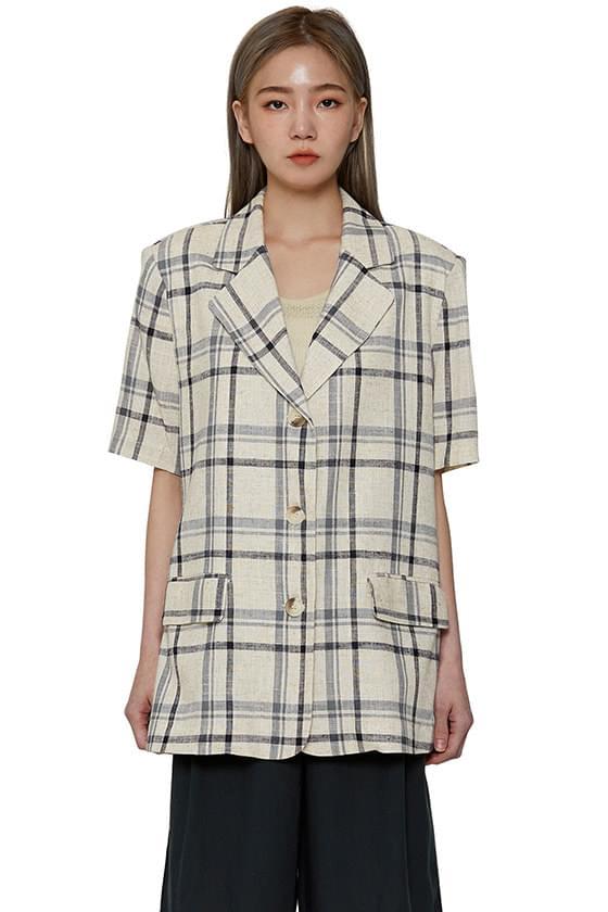 韓國空運 - Early linen check blazer 夾克