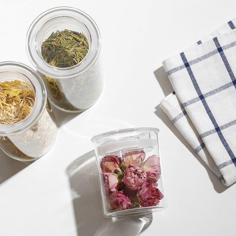 茶叶罐防潮玻璃罐花茶干货储物罐厨房食品储存罐密封罐