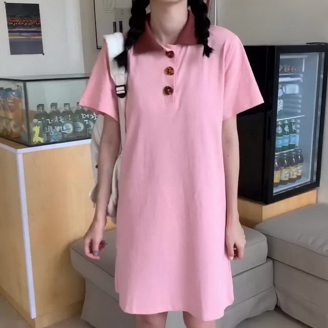 FOFU-棉夏款學小個子polo領連身裙子女中長版T恤【08SG07020】