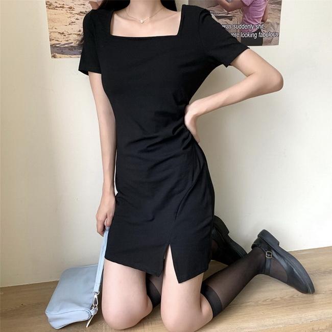 FOFU-小黑裙女夏裝法式復古赫本風方領T恤女【08SG06997】