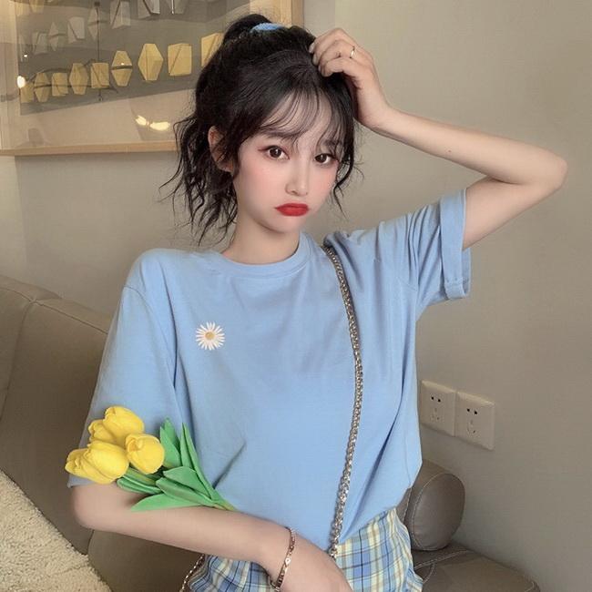 FOFU-彈性棉短袖t恤女刺繡小雛菊上衣錢夫人同款【08SG06744】